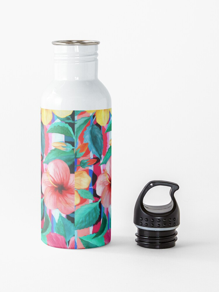 Alternate view of OTT Maximalist Hawaiian Hibiscus Floral with Stripes Water Bottle