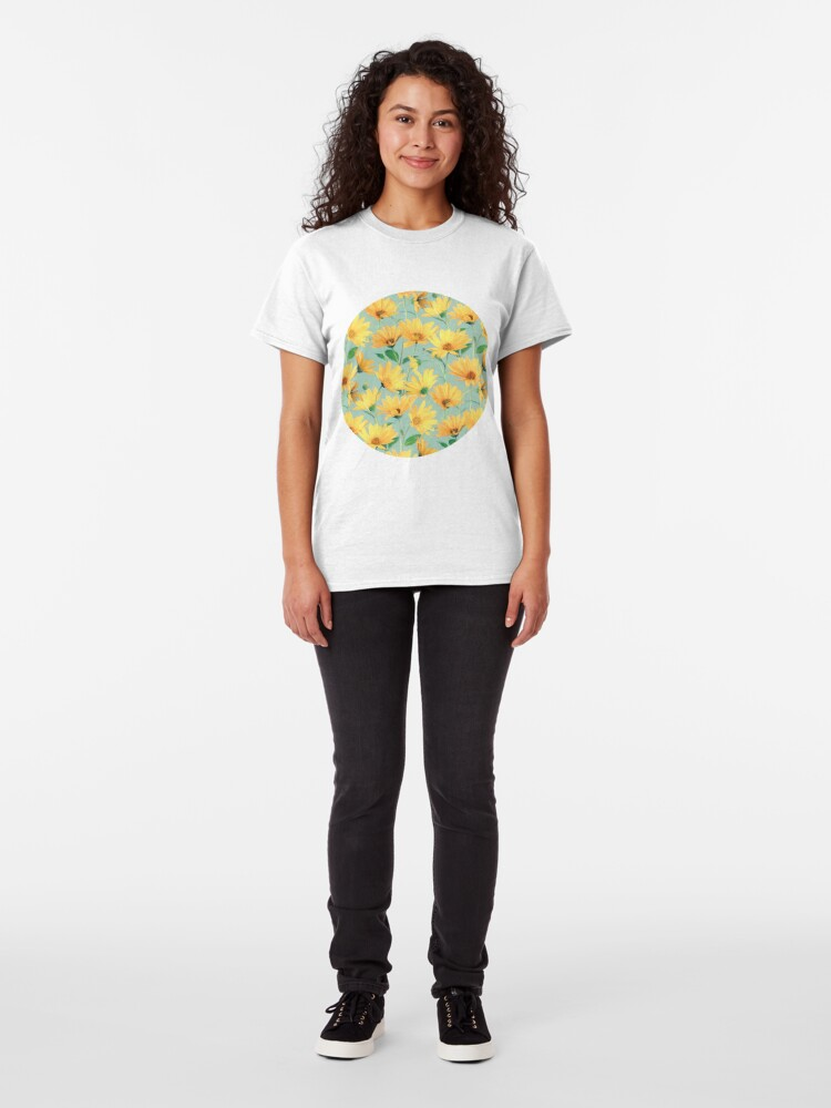 Alternate view of Painted Golden Yellow Daisies on soft sage green Classic T-Shirt