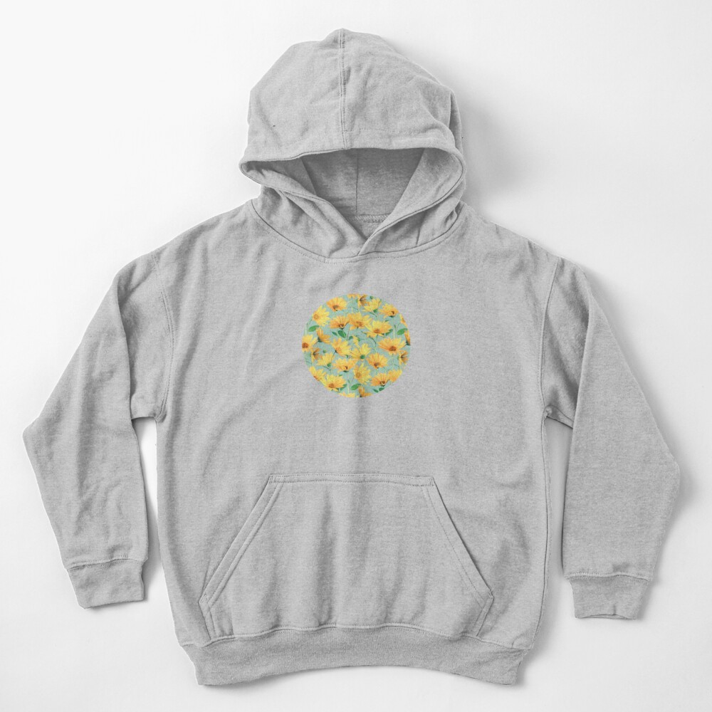 Painted Golden Yellow Daisies on soft sage green Kids Pullover Hoodie