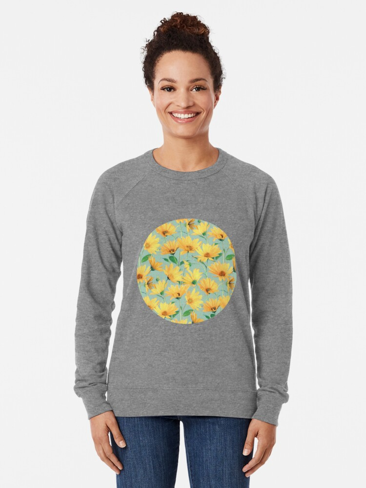 Alternate view of Painted Golden Yellow Daisies on soft sage green Lightweight Sweatshirt