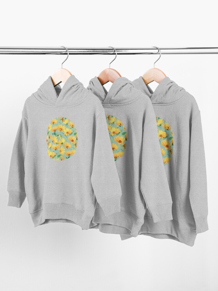 Alternate view of Painted Golden Yellow Daisies on soft sage green Toddler Pullover Hoodie