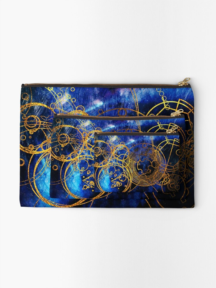 Alternate view of Time Lord Writing (blue) Zipper Pouch