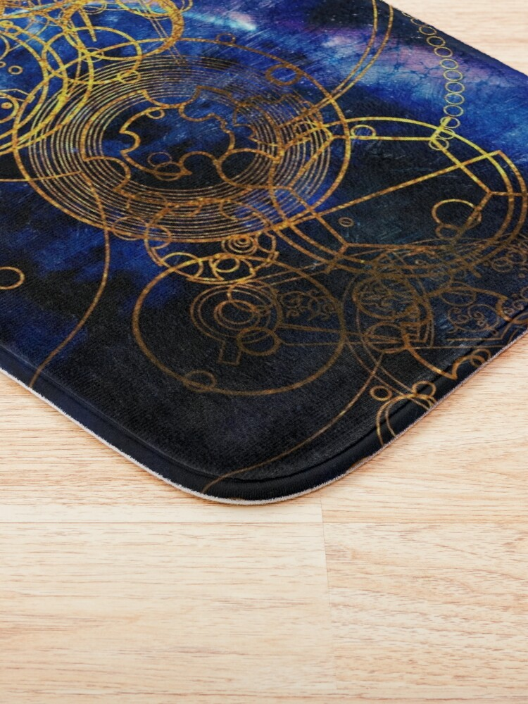 Alternate view of Time Lord Writing (blue) Bath Mat
