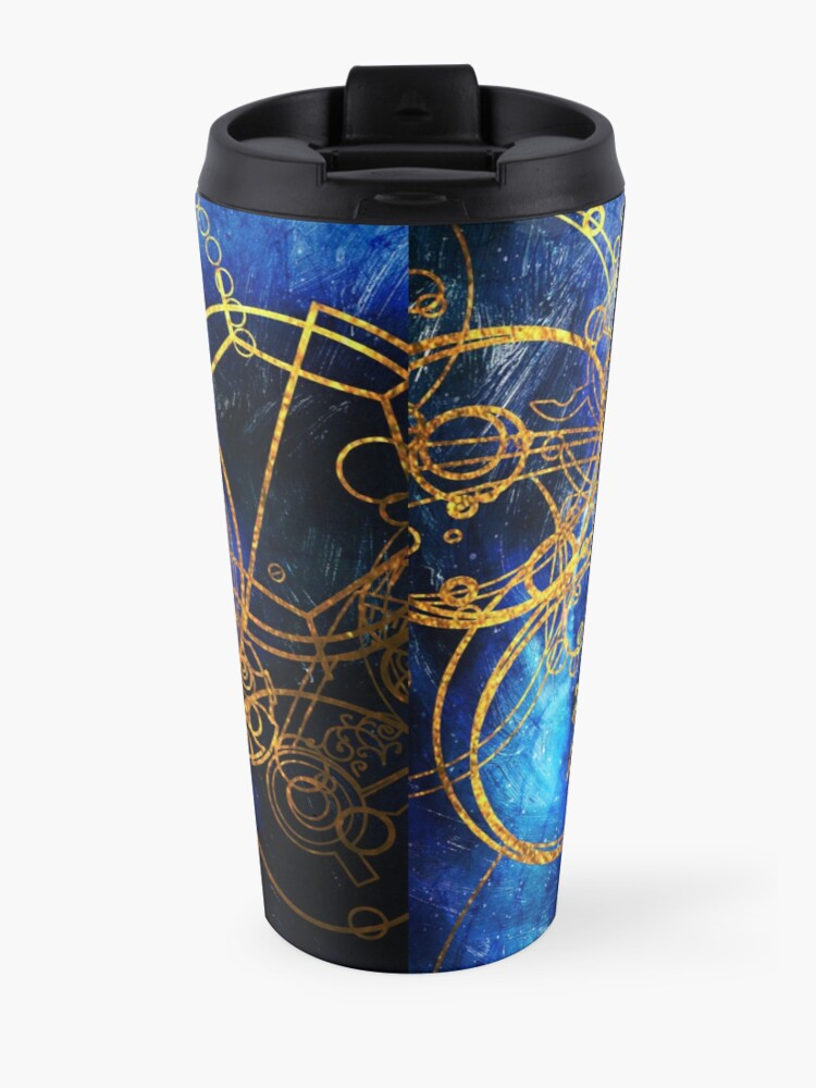 Alternate view of Time Lord Writing (blue) Travel Mug