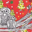 Christmas Owls 1 by kewzoo