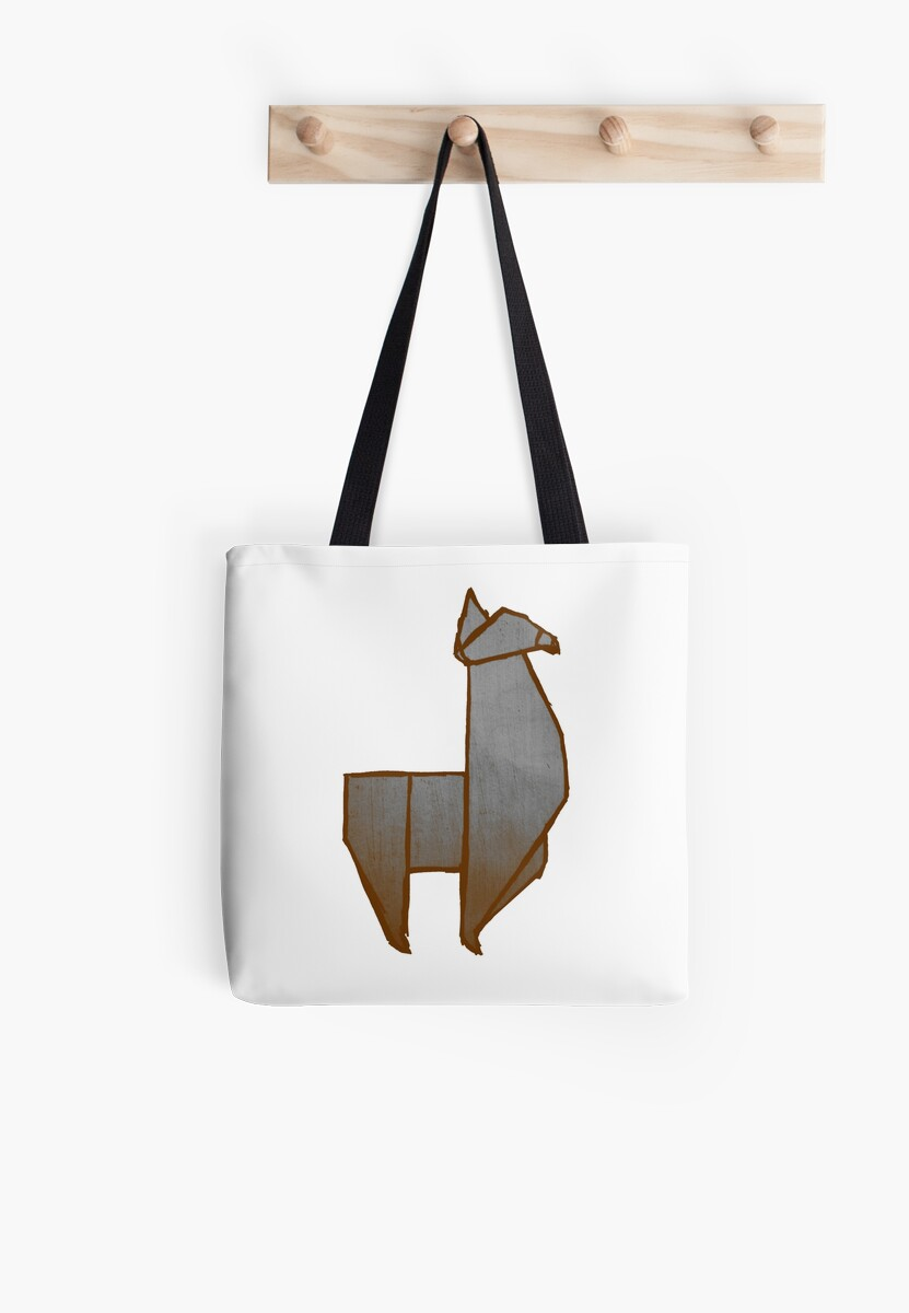 Origami Llama Tote Bags By The Acorn Redbubble
