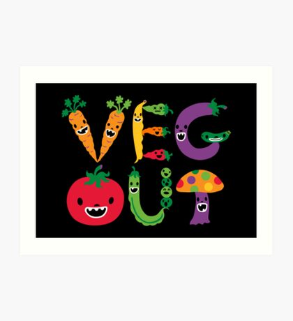 Veg Out - black Art Print