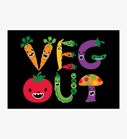 Veg Out - black Photographic Print