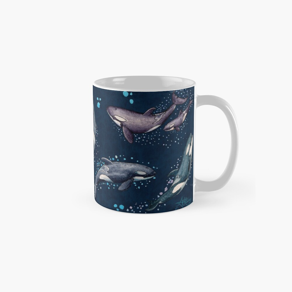 """""""Orca Pod in Watercolor"""" by Amber Marine, (Navy Blue Version) Killer Whale Art, © 2019 Classic Mug"""