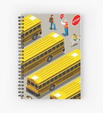 School Bus Vehicle Isometric Spiral Notebook