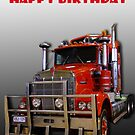 Red Kenworth Truck Happy Birthday by JuliaKHarwood