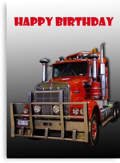Red Kenworth Truck Happy Birthday Von JuliaKHarwood