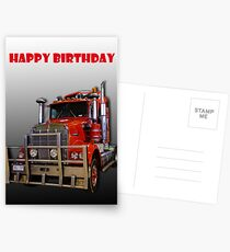 Red Kenworth Truck Happy Birthday Postcards
