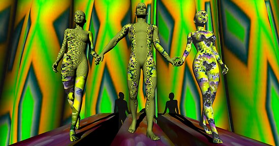 Two  Yellow Fractal Outfits To The Left by Ann Morgan