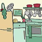 Kitchen Scene with Blue-Footed Booby by Otter-Grotto