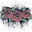 Grunge Rosen mit Splatters von AnnArtshock