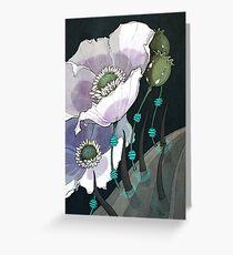 White Opium Poppies  Greeting Card