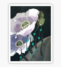 White Opium Poppies  Sticker