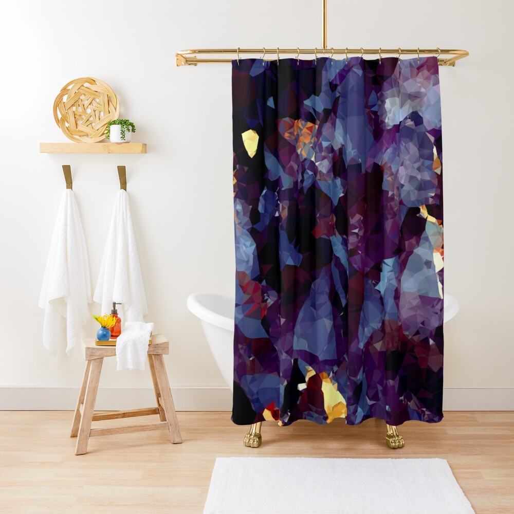 Blue Gold Purple Crystal Low Poly Geometric Triangles    Shower Curtain