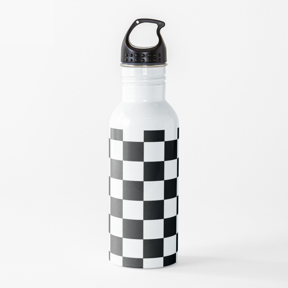 Checkered Black and White Water Bottle