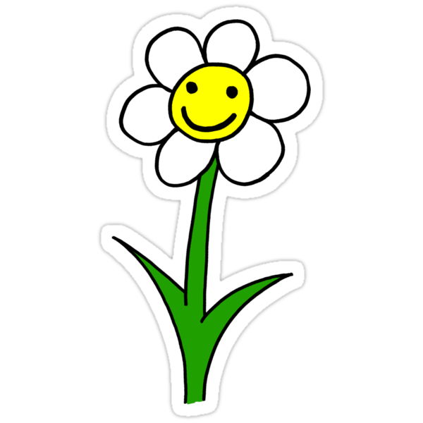 Happy smiling cartoon flower quot stickers by readiescards redbubble
