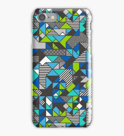 Geometric Shapes and Triangles Blue Mint Green iPhone Case/Skin