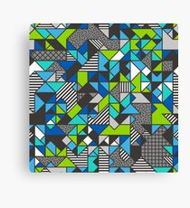Geometric Shapes and Triangles Blue Mint Green Canvas Print