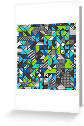 Geometric Shapes and Triangles Blue Mint Green by CajaDesign
