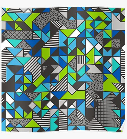 Geometric Shapes and Triangles Blue Mint Green Poster