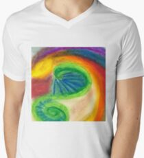 Roads of Life - Oil Pastel on Watercolor Paper V-Neck T-Shirt