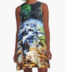 Am Ufer von Avalon - Aquarellmalerei A-Linien Kleid