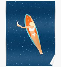 Moon Surfing #illustration #painting  Poster
