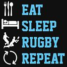 Eat sleep rugby repeat shirts from Ricaso  by Ricaso