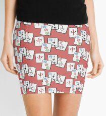 Mah Jong cubes on red background  Mini Skirt