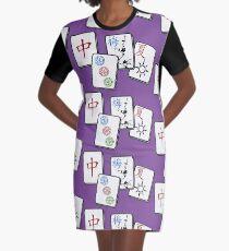 Mah Jong cubes game on purple background Graphic T-Shirt Dress