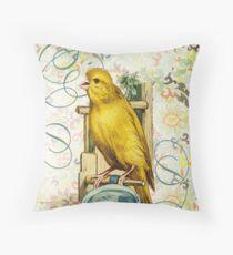 Victorian Canary Nest Yellow Bird Throw Pillow