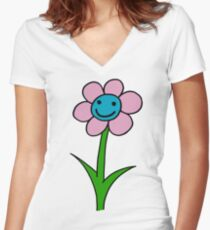 Happy smiling flower - pink and blue Women's Fitted V-Neck T-Shirt