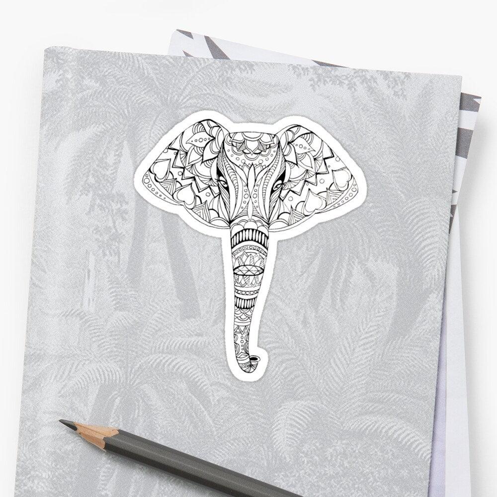 patterned elephant ink drawing stickers by amandaruthart redbubble