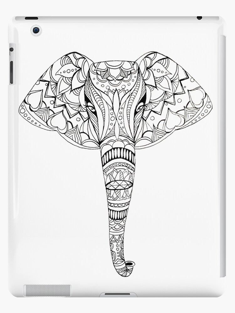 patterned elephant ink drawing ipad cases skins by amandaruthart