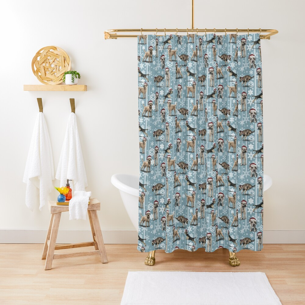 The Christmas Border Terrier Shower Curtain