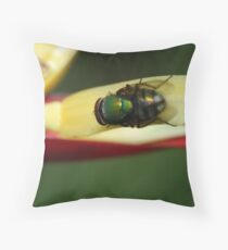 Fly on leaf Throw Pillow