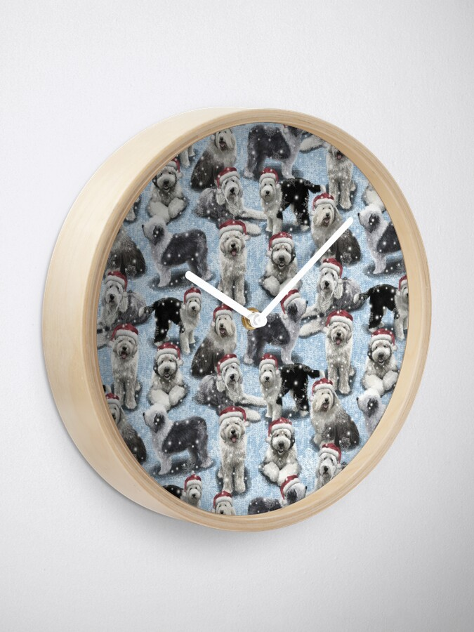 Alternate view of The Christmas Old English Sheepdog Clock