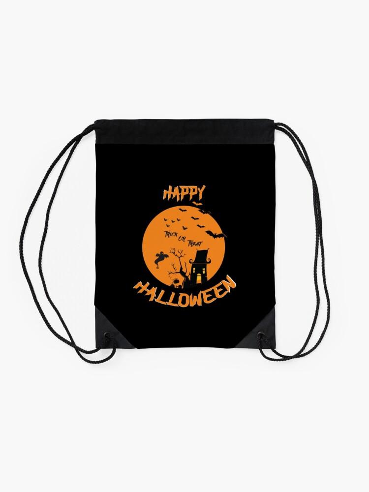 Alternate view of Spooky Scene Halloween Scene Scary Scene Tree. 3 Drawstring Bag