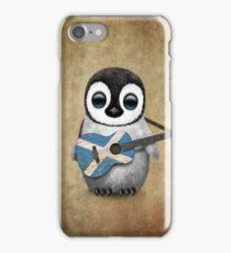 Baby Penguin Playing Scottish Flag Guitar iPhone Case/Skin