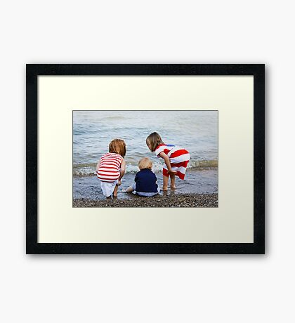 Grandchildren at the Beach Framed Print