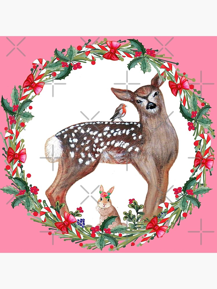 Christmas Deer, robin, rabbit, berries and candy canes by MagentaRose
