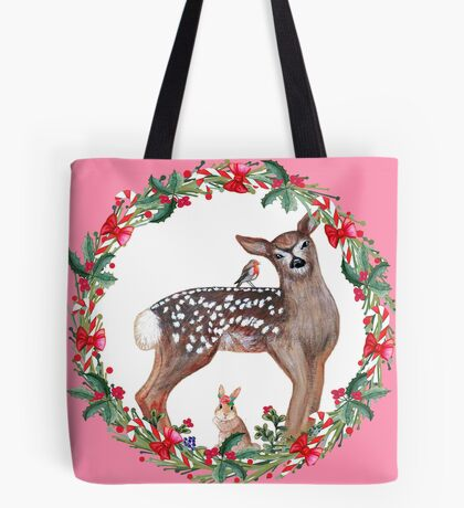 Christmas Deer, robin, rabbit, berries and candy canes Tote Bag
