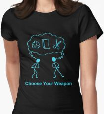 Choose Your Weapon Rock Paper Scissors Womens Fitted T-Shirt