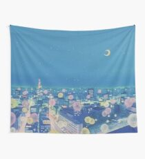 Sailor Moon Background City at Night Tapestry