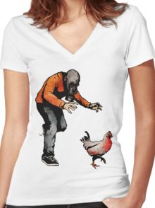 LEROY VS THE EVIL ZOMBIE CHICKEN! Women's Fitted V-Neck T-Shirt
